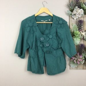 Anthro Knitted and knotted S Teal cardigan